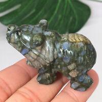 "1.5"" Hand Carved Flow Rock Stone Skull Natural Quartz Crystal Reiki Healing 1pc"