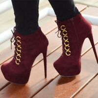 Women's Lace Up Ankle Boots Platform High Heels Round Toe Stilettos Shoes Zipper