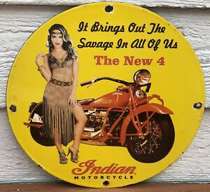 VINTAGE INDIAN MOTORCYCLES NEW 4 PORCELAIN SAVAGE GAS OIL SIGN