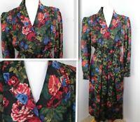 Vintage Liberty London 1940s style FLORAL TEA DRESS, SIZE 12