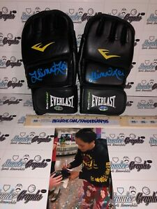 ILIMA LEI MACFARLANE SIGNED AUTOGRAPHED MMA PAIR GLOVES BELLATOR UFC-PROOF COA
