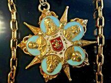 "3"" VTG French King Louis XVI Figure Fleur Lis Turquoise Enamel Embossed Pendant"