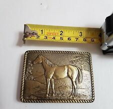 Belt Buckle Brass Horse Scene Great American Buckle Company 1979 Made in USA