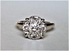Antique Art Deco 14K White Gold 0.88CT Diamond Cluster Engagement Ring 3.5 grams