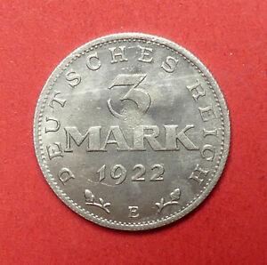 Deutschland, Weimar, 3 Mark, 1922 E, Kursmünze