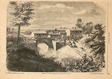 Stampa antica BATTAGLIA di PALESTRO Pavia scontri al ponte 1859 Old print