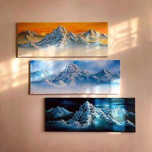 Original Signed 3 Oil Paintings Art Decor 80x30cm Canvas Bob Ross Technique