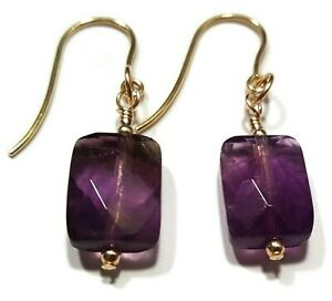 9ct Gold Amethyst Earrings, Cushion Shaped Faceted Cut Purple Beads, Gift Boxed