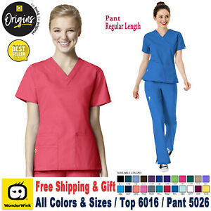 WonderWink Scrubs Set ORIGINS Women's V-Neck Top & Cargo Pant 6016/5026 Regular