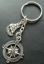 New Silver Tone Metal Galleon and Ship Boat Compass Keyring Keychain Bag Charm
