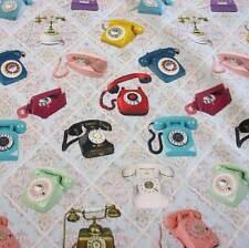 Stoff Meterware retro Telefon bunt Nostalgie Digital Baumwolle Dekostoff 2017