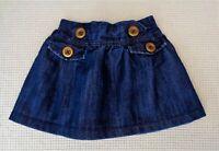 NEXT Baby Girls Blue Denim Skirt Button Detail Adjustable Waistband 12-18 months