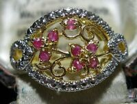 Beautiful 14ct Gold on STERLING SILVER Real Ruby Gem Stone RING Size Q 8