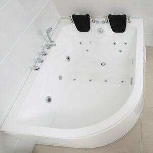 XXL Luxus SPA Whirlpool Badewanne SET+Armaturen 180x120 14 Massage-Düsen rechts