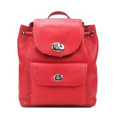 New Coach F37581 Mini Turnlock Rucksak Backpack Pebble Leather Black True Red