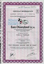 Euro Disneyland S.C.A, Paris, 1983 (10 Actions) + Coupons