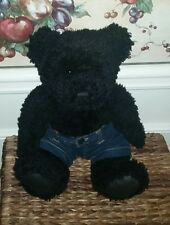 "KENNETH COLE PLUSH BLACK BEAR wearing Jean shorts 14"" sitting  #FF"