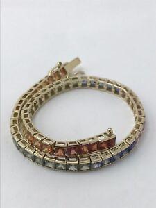 Gorgeous Rainbow  Sapphire 14K Gold Bracelet