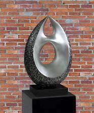 SILBERNE ABSTRAKTE SKULPTUR STATUE/50 kg Marmor Galerie Sockel 70x40x30cm 399,-