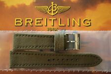 BREITLING 105W 24-20 OLIVE DRAB MILITAR TONGUE BUCKLE WATCH BAND WATCHBAND STRAP