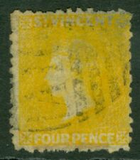 SG 12 St Vincent 1869. 4d yellow, no WMK, perf 11-12½. Very fine used CAT £160