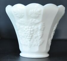 "Westmoreland Milk Glass Paneled Grape Design Flower Pot Vase 4"" Tall"