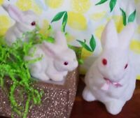 Vintage Red Eyed White Fuzzy Felted Flocked Easter Bunny Rabbits 1 a bank