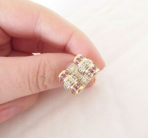 9ct gold old cut diamond ruby ring, art deco heavy 13.2 grams