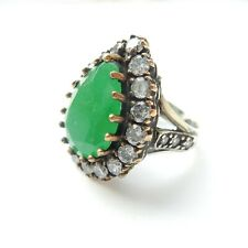 Sterling Silver Vermeil Emerald Green Chalcedony Ring