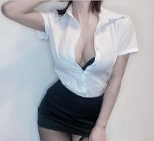 Sexy Secretary Dress Mini Shirt Uniform Set Teacher Women Fancy Dress Clubwear