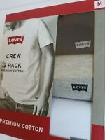 Levi's 3-Pack Men's M Premium Cotton Crew-Neck T-Shirt White Blue Gray Logo NIB