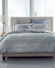 Hotel Collection Cotton Diamond Stripe FULL/QUEEN Comforter Grey $385 G2192