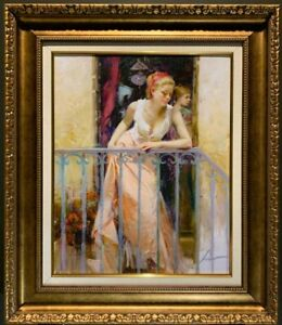 """Pino Daeni, """"At the Balcony"""", Hand-embellished and Signed Giclee/Canvas, 114/500"""