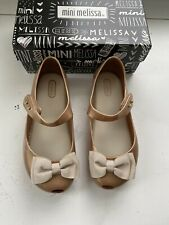 Mini Melissa Girls Gold Bow Shoes Size 12 New