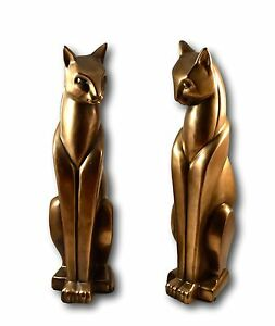 Pair of Cold Cast Bronze Stylised Standing Cats Cat Ornament Figurine Statue
