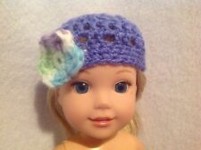 "Wellie Wishers flower purple crocheted hat beanie American Girl 14"" doll clothes"