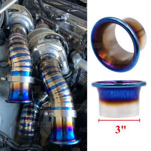 3'' JDM Titanium Blue Cold Air Intake System Stack Kit Turbo Horn Funnel Kit