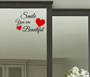 You are Beautiful Motivational Quote X2 Wall Vinyl Sticker Mirror Windows Smile