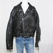Men's Vanguard Black Cowhide Leather Jacket Tassels Motorcycle Belt 54