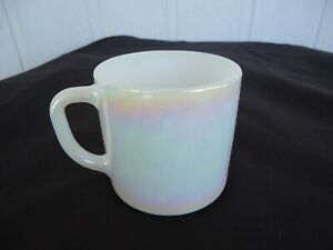 vintage fire king white mother of pearl federal glass lustre ware coffee mug