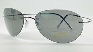 Silhouette 8568/50 Titan Metal Rimless Sunglass 6128 Shiny Black 60-17 w/Case