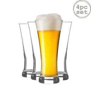Pilsner Beer Glasses Set of 4 Dinner Glassware 380ml Clear