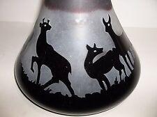 Antique Ruby Glass Ships Decanter DEER STAG Vase