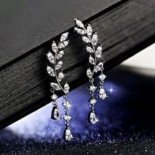 Delicate White Topaz & 925 Sterling Silver plated Leaf Drop / Dangle Earrings