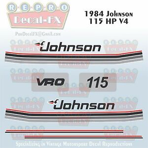 1984 Johnson 115 HP V4 Sea-Horse Outboard Reproduction 10 Pc Marine Vinyl Decals