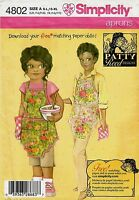 Simplicity 4802 Patty Reed Aprons Sewing Pattern Misses S-XL Child S-L NEW OOP