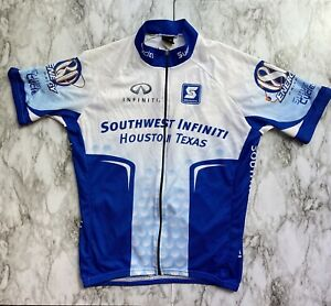 Squadra Team Division Cycling Biking Jersey Shirt Zip-up Size L Blue And White