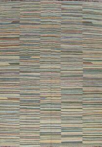 Reversible Kilim Striped Afghan Oriental Area Rug Wool Hand-Woven Carpet 8x11 ft
