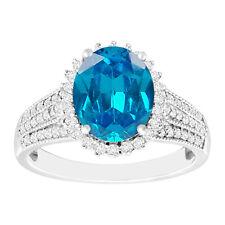 2.30 Carat Real 14KT White Gold Natural Blue Topaz EGL Certified Diamond Ring