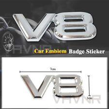 HOT V8 Logo 3D Silver Chrome Car Sticker Badge Emblem Decal